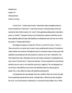 Essay On How I Spent My Summer Vacation For Kids Critical Lens Essay Against Same Sex Marriage Essay also Persuasive Essay On Death Penalty Critical Lens Essay  Gabrielle Paul Portfolio Examples Of A 5 Paragraph Essay